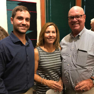 Photo: Bobby and Shannon Alten of Alten Construction, Bill Smith, Chair of the Belvedere Tiburon Library Agency Board